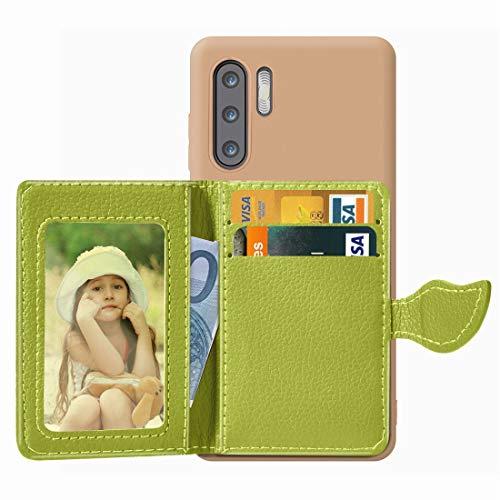 Baobao Leaf Buckle Litchi Texture Card Holder PU + TPU Funda for Huawei P30 Pro, con Ranura for Tarjeta y Billetera y Soporte y Marco de Fotos (Color : Green)