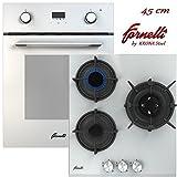 FORNELLI FEA 45 Sonata WH y PGA 45 Fiero WH - Juego de Cocina (45 cm, Montaje multifunción, Horno con Placa de Gas, Cristal Blanco, Clase de eficiencia energética: A)