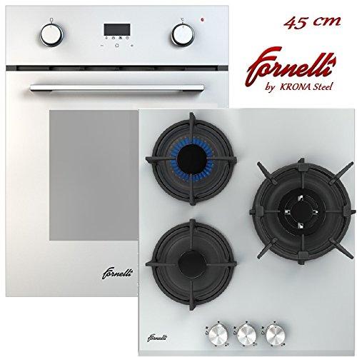 FORNELLI FEA 45 Sonata WH und PGA 45 Fiero WH Herdset 45 cm Einbau Multifunktional Backofen mit Gaskochfeld / / weißer Glas/Energieeffizienzklasse: A (weiß Set)