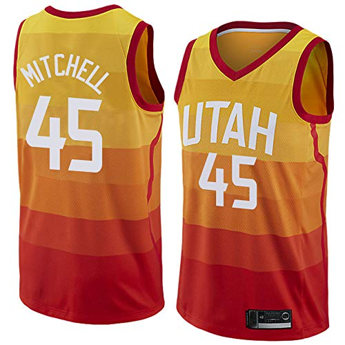 LITBIT Baloncesto para Hombre NBA Jersey Vintage Utah Jazz 45# Mitchell City Edition Transpirable Quick Secking Sin Mangas Vestima Top para Deportes,Naranja,M