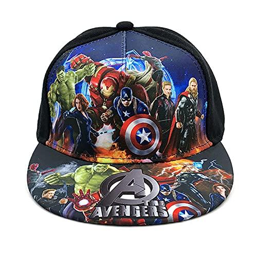 PRETAY Captain America Baseballkappe,Avengers Spider-Man Iron Man Hulk Kinder Sonnenhut,Captain America Comic Superhelden Snapback Hut für Kinder, Jungen und Mädchen (Color : E, Size : M(50~54cm))