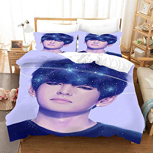 3D BTS Printing Duvet Cover set double bed 200x200 cm Bedding set with 2 Pillowcases 50x75 cm with Zipper Microfiber Quilt Cover Apply to adult and child bed