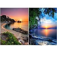 UPINS 2パック 5D DIY フルドリル ラインストーン ダイヤモンド絵画キット ホームデコレーション 30 x 40cm / 12 x 16インチサンセット