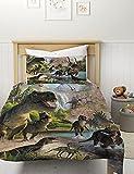 MUSOLEI Dinosaur Bedding Set Kids Realistic Jurassic World Dinosaurs Green Duvet Cover for Kids Boys Teens Bedroom Soft Quilt Cover Microfiber,with Pillowcase(Green, Single)