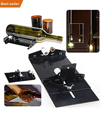 Amazing Double Premium Quality All Glass Bottle Cutter Tool Rounded Shape Glass Cutter Machine for Wine Beer Glass Decorate Rooms Gallery Lawn & Garden with Glass Candles Lights Easy home decoration