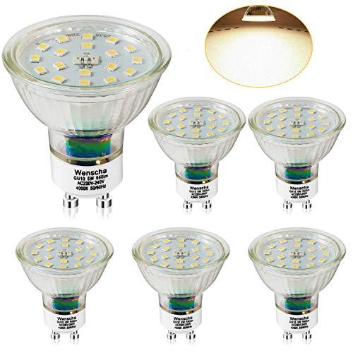 GU10 LED Neutralweiss, Wenscha 6er GU10 LED Lampe, 5W 550Lumen LED Leuchtmittel, 4000K Neutralweiß ersetzt 50W Halogenlampe, GU10 LED Reflektorlampe Birne, 120° Abstrahwinkel Spot, Nicht Dimmbar