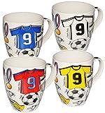 alles-meine.de GmbH 1 Stück _ XL Kaffeetasse / Henkeltasse - Jumbo - 500 ml -  Fussball - Trikot blau & weiß  - groß - Porzellan / Keramik - Teetasse - Fußballspieler - Trinkta..