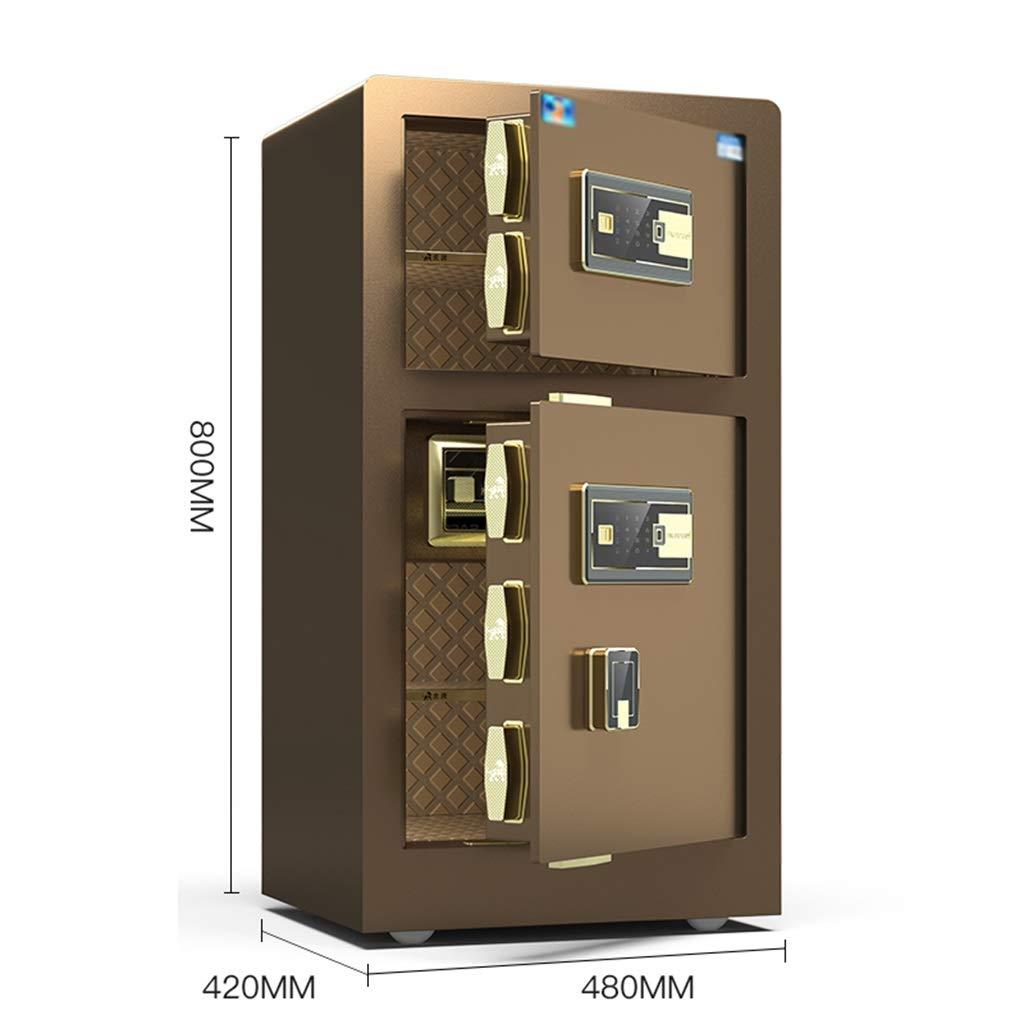 Cajas fuertes Caja fuerte electrónica for el hogar con caja fuerte mediana 80 cm de huellas dactilares grandes caja fuerte doble for el hogar (Color : Brown, Size : 48 * 42 *