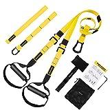 DAKCOS Conjunto de entrenamiento con correas de suspensión con anclaje en la puerta con correas de fitness ajustables y correas de extensión de entrenamiento ; hasta 500 kg,Amarillo