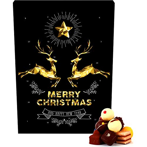 Hallingers Pralinen-Adventskalender - Goldene Elche (Advents-Karton)