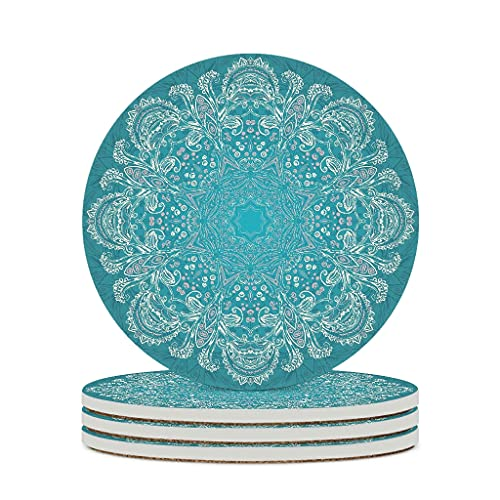 Wraill Round Coasters Magic Blue Ceramic Coaster Set 4/6 Porcelain Coasters with Cork Base for Home Kitchen Office White 6pcs