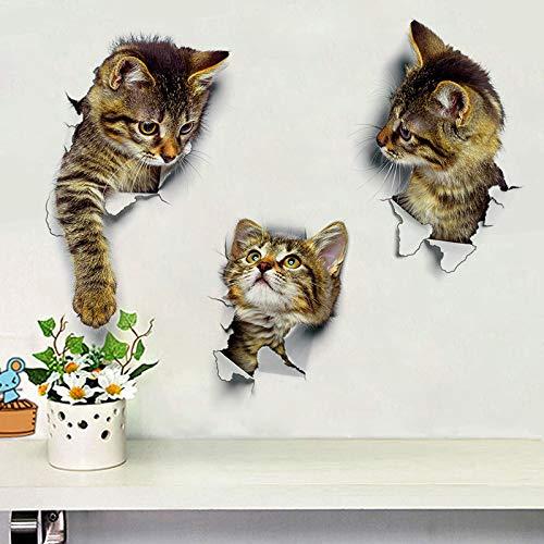 3pcs Decoración Gatos 3D Pegatinas De Pared Agujero Ver Aseo Etiqueta Engomada del Gato Decoración del Hogar De PVC Adhesivos De Pared Extraíble Arte Fondos