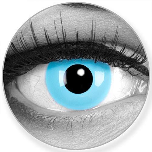 Funnylens Farbige Kontaktlinsen Sky Angel blaue - weich ohne Stärke 2er Pack + gratis Behälter – 12 Monatslinsen - perfekt zu Halloween Karneval Fasching oder Fasnacht