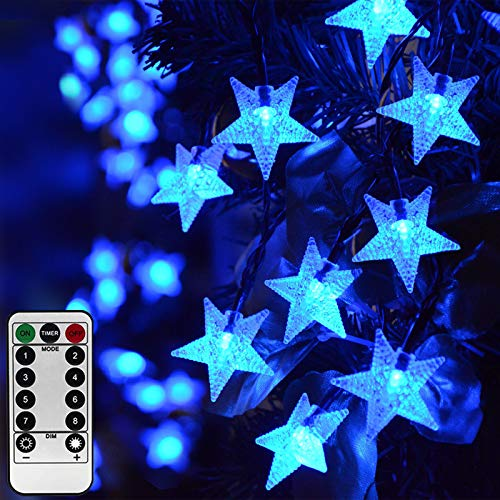 Homeleo 8M 50 Led Blue Star Christmas Lights with Timer, Battery Powered Garden Fairy String Lights,Remote Twinkle Lights for Outdoor Indoor Decor