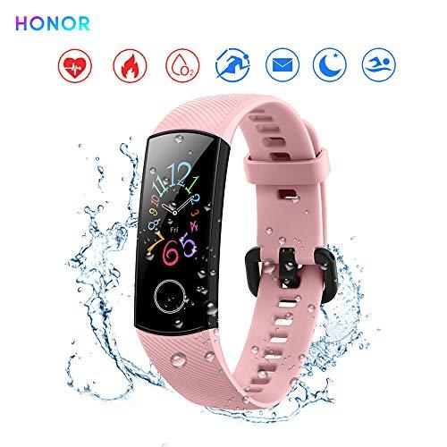 Honor Band 5 Reloj Inteligente 0.95'Gran Pantalla a Todo Color AMOLED Fitness Pulsera Inteligente Monitoreo Inteligente 5ATM a Prueba de Agua (Rosado)
