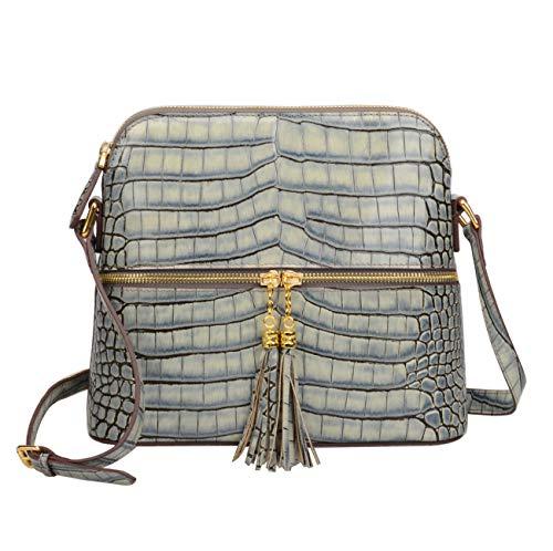 Ainifeel Women's Genuine Leather Dome Crossbody Bags With Tassel Zipper Pocket Patent Leather Purse Size: Medium 10.2''(W) x 4''(D) x 8.7'' (H)