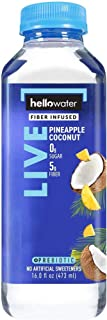 hellowater - Fiber Infused Water (Pineapple Coconut - Live) - High Fiber - 0 Sugar - 0 Net Carbs - Nothing Artificial - Low Glycemic - 16 Fl. oz. Bottles (Pack of 12)