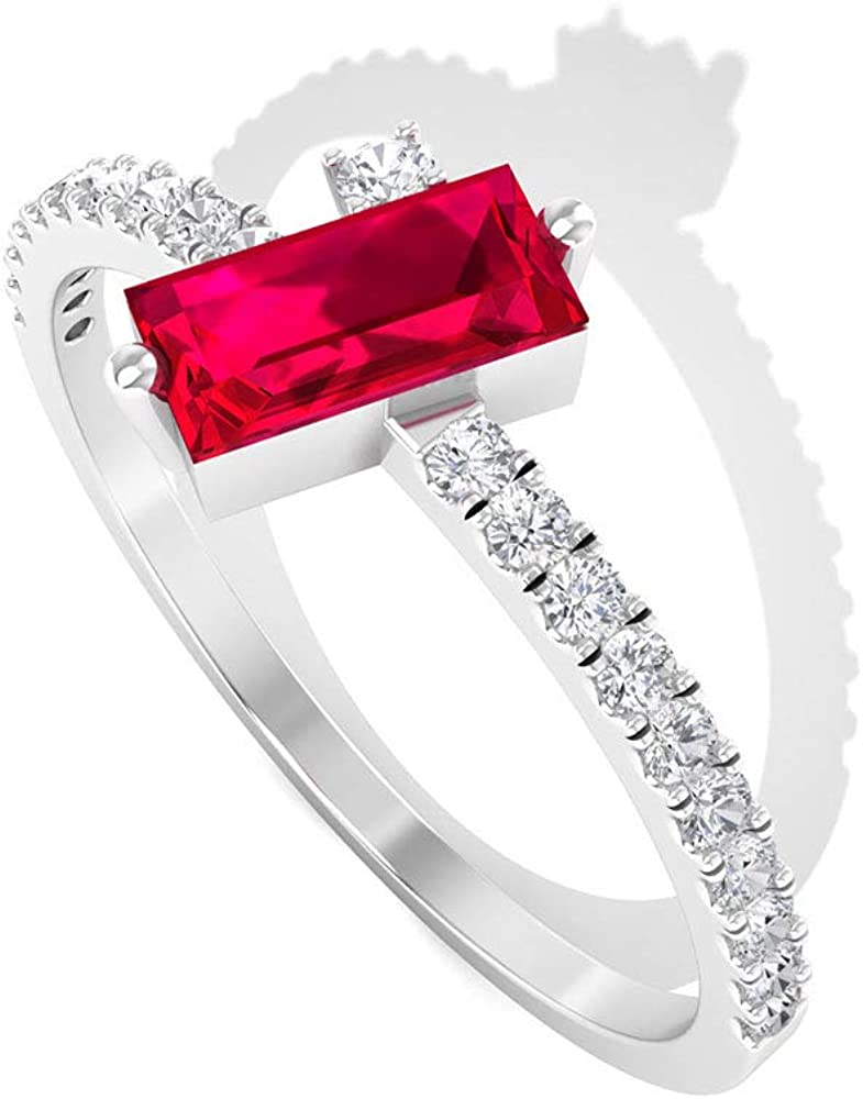 0.42 Ct Ruby Solitaire Gold Wedding Ring, 0.17 Ct SGL Certified Diamond Promise Ring, Baguette Shape Gemstone Ring, HI-SI Color Clarity Diamond Ring, 14K Gold