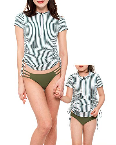 Women's UV Sun Protection Rashguard Side Adjustable Swim Shirt Short Sleeve Front Zipper Swimsuit Top and Bottom Rashguard Set Green-White Stripe-L