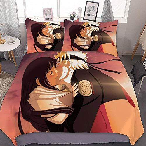 QWAS Naruto - Juego de ropa de cama (3 piezas, 100% microfibra, 1,135 x 200 cm + 50 x 75 cm x 2)