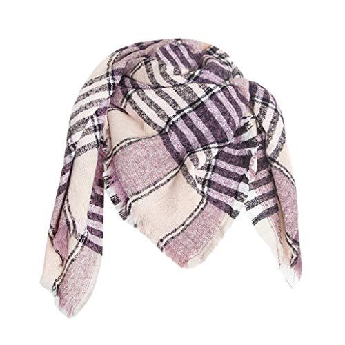 TIFIY Damen Schal Damenmode Ponchos Decke für Damen Große Tücher und Wickel Weich Warm Bequem Basic Schal Lila