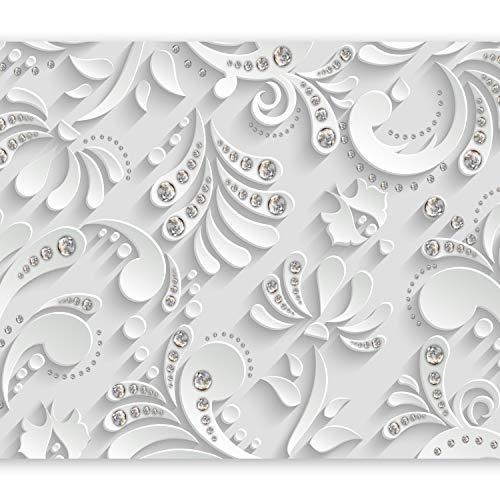 murando Fototapete selbstklebend 3D Optik 343x256 cm Tapete Wandtapete Klebefolie Dekorfolie Tapetenfolie Wand Dekoration Wandaufkleber Wohnzimmer Ornament weiß grau Diamant f-C-0209-a-a