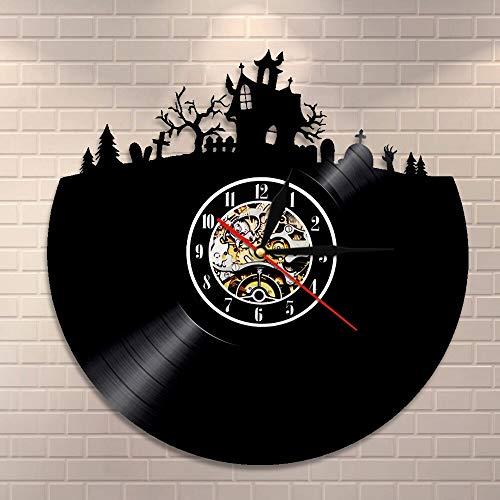 UIOLK Feliz Noche de Halloween decoración de Pared Disco de Vinilo Reloj de Pared cráneo Esqueleto y Fantasma Reloj Vintage decoración de Terror Reloj de Pared