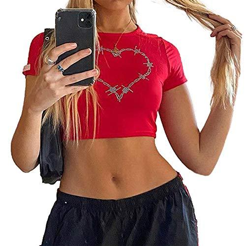 Mujeres 's impresión gráfica Crop Shirt Kawaii verano O cuello manga corta Tee Top E Girl Y2k estética ropa