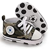 MABES WAREHOUSE Baby Infant Canvas Shoes - High Top Baby Shoes for Girl Boys, Soft Sole Sneakers Ankle Infant Shoes, Unisex Newborn First Walkers Anti-Slip Sole Crib Shoes (Camouflage, 12)