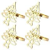 Amosfun 4 Pezzi Portatovaglioli di Natale Anelli di Tovagliolo a Forma di Albero di Natale Anelli di Tovagliolo di Tovaglioli di Natale Decorazioni da Tavola d'oro