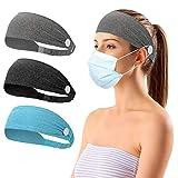 Lot de 3 bandeaux avec boutons pour masques faciaux, antidérapants et extensibles pour homme, femme, infirmières, médecins (bleu, gris, gris foncé)
