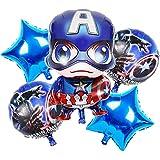 6 globos temáticos Capitán América para decoración de cumpleaños Wopin-Foil para Capitán América Decoración de Cumpleaños Globos Decoración de Fiesta para Vengadores Decoración de Fiesta