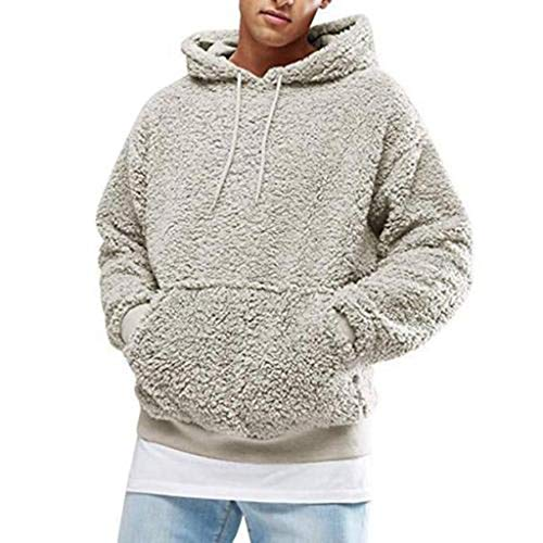 Annstar Männer warme Flauschige Hoodie Casual Sweatshirt Outwear Pullover leichte Jumper Mantel Jacke Bluse Top (M, Grau)