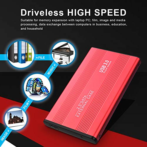 Disco Duro Externo 2 TB, Ultra Slim USB3.0 Disco Duro Externo para PC, Mac,Xbox, MacBook, Chromebook (2TB,Rojo) miniatura