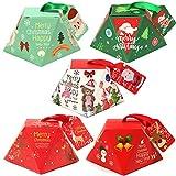 mengger 25pcs Cajas de Regalo Navidad Bolsas Caramelos Decoraciones Tratar Carton Papel Cupcakes Caramelos Galletas Dulce Empaque Embalaje comunion Caja