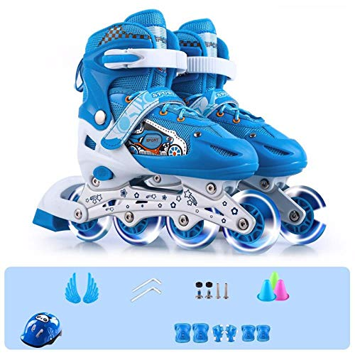 Great Price! SSLLPPAA Roller Skates Inline Skates Boys and Girls Blue Skates Full Flash Suit (Includ...