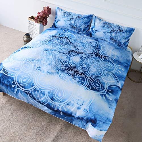ATZTD Juego de cama de 3 piezas, diseño de mandala de flor de loto azul con acuarela, estilo bohemio, para dormitorio, decoración de cama (super king)