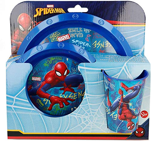 Dream' s Party Set Tavola Spiderman Uomo Ragno per pasto Pappa Bimbo - Set in plastica Rigida con Piatto, Piatto Fondo, Bicchiere