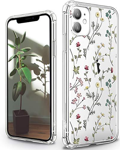 Carcasa para iPhone 11, diseño de flores, transparente, plástico transparente, impresión 3D, funda suave con parachoques de TPU para iPhone 11 de 6,1 pulgadas