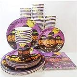 MAGRF 24pcs Set di stoviglie USA e Geta di Zucca di Piatti Bicchieri Di Carta Tovaglioli Cartone Festa Forniture per Compleanno A