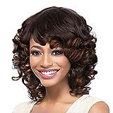ColorfulPanda Afro Pelucas de pelo cortas bob rizado para mujer negra, pelo natural negro marrón mezclado, pelucas brasileña sintéticas onduladas con Flequillo de Para Mujeres Fiesta Halloween Disfraz