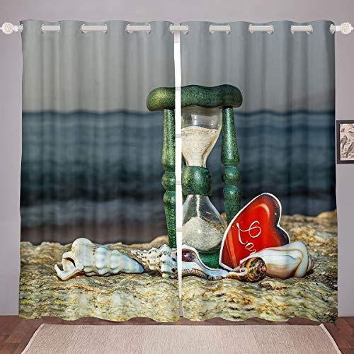 Cortinas de Dibujos Animados del océano Lindas Cortinas de Ventana Conde Concha de Reloj de Arena niños y niñas,Hawaiana de la Playa, tratamientos de Ventana conSealife, W52 x L63 Pulgadas