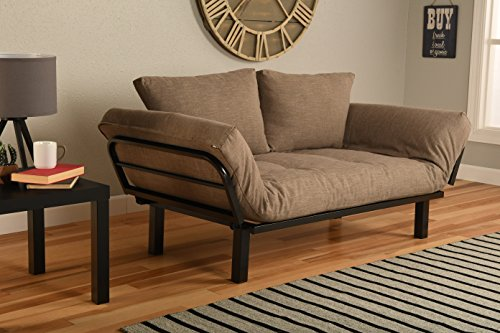 Best Futon Lounger Sit Lounge Sleep Smaller Size Furniture is Perfect for College Dorm Bedroom Studio Apartment Guest Room Covered Patio Porch (Light Brown Stone Linen)