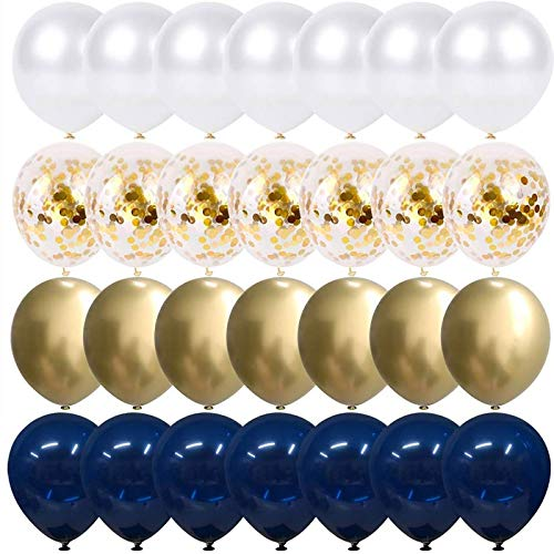 Navy Blue and Gold Confetti Balloons, 50 pcs 12 inch Pearl White and Gold Metallic Chrome Birthday Balloons for Celebration Graduation Party Balloons