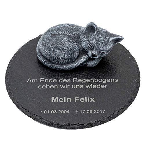 Tiefes Kunsthandwerk Gedenkstein Katze für Dein Haustier, mit Wunschtext als Gravur, wunderschöne Erinnerung für Dein Zuhause oder als Grabschmuck, Farbe Schiefergrau