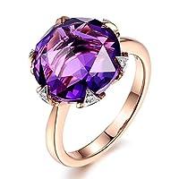 女性のためのファッション流行の天然アメジストジェムストーン14Kソリッドローズゴールドウェディング婚約ダイヤモンドリング