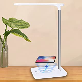 Fovendi LED Desk Lamp with Wireless Charger Table Lamp USB Charging Port Folding Eye Protection Desk Lamp Touch Control De...
