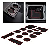 CupHolderHero Compatible with Subaru WRX 2015-2020 Custom Liner Accessories – Premium Cup Holder, Console, and Door Pocket Inserts 13-pc Set (Manual Parking Brake) (Red Trim)