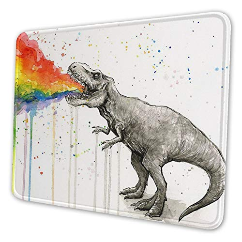Watercolor Dinosaur Spray Rainbow Gaming Non-Slip Rubber Base Mouse Pad Apply to Laptop Compute, Mousepad with Stitched Edge, Mouse Mat for Home Office(7.9x9.5 in,Black)