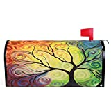 Colorful Rainbow Tree of Life Branch Mailbox Covers Standard Size Abstract Tree of Life Summer Spring Autumn Winter Magnetic Mail Cover Letter Post Box 21' Lx 18' W